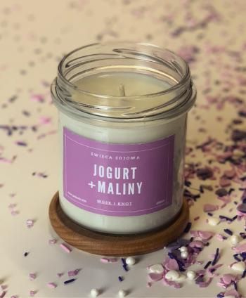 Świeca Sojowa Jogurt + Maliny - Wosk i Knot