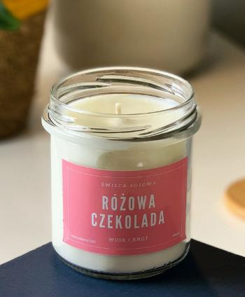 Świeca Sojowa Różowa Czekolada - Wosk i Knot