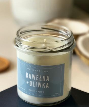 Świeca Sojowa Bawełna i Oliwka - Wosk i Knot