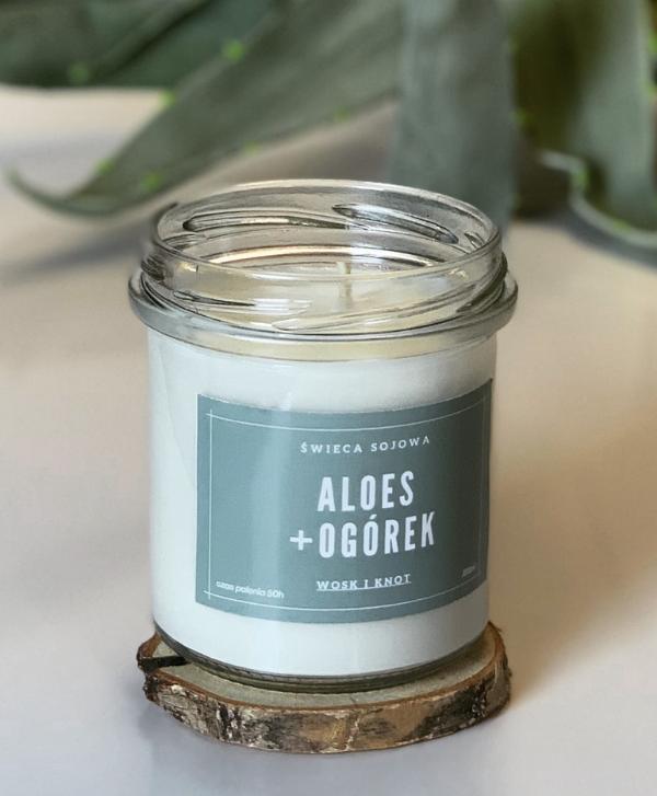 Świeca Sojowa Aloes + Ogórek - Wosk i Knot
